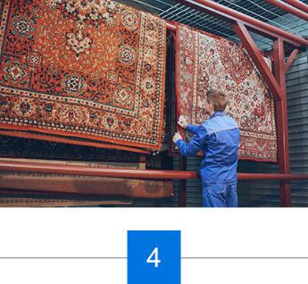 Die Qualitätskontrolle des Teppichs