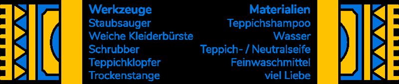 Werkzeuge und Materialien für Teppichreinigung
