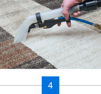 Reinigungsmittel wird auf den Teppichboden aufgetragen
