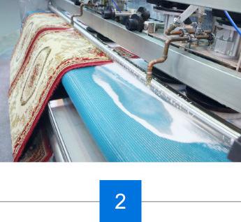Maschinelle Reinigung des Teppichs