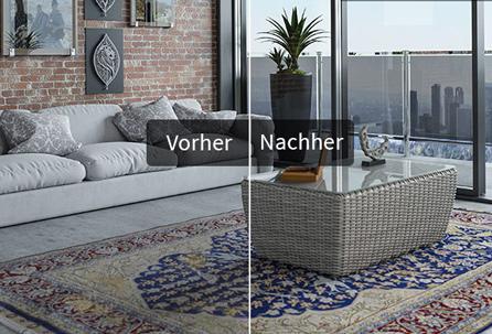 Teppich im Vergleich - vor und nach der Wäsche